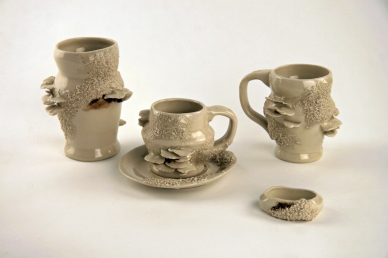 Nature's Dinnerware: Mushroom and Moss Drinking Vessels, 2011, glazed stoneware